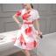 ชุดเดรสสั้นน่ารัก ผ้าซาตินพื้นสีขาว ลายใบไม้โทนสี แดง โอรส และเทา thumbnail 6