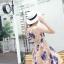 ชุดเดรสออกงาน ผ้าปักริบบิ้นเป็นรูปดอกไม้โทนสีน้ำเงิน และสีชมพูกะปิ แขนกุด thumbnail 8