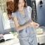 แฟชั่นเกาหลี set เสื้อ และกางเกง สีฟ้า พร้อมสร้อยคอสุดสวย thumbnail 2