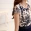 ชุดเดรสยาวสวยๆ ตัวเสื้อผ้าโปร่งปักลาย เส้นรูปดอกกุหลาย สีน้ำเงินเข้ม แขนสั้น thumbnail 14