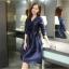 ชุดเดรสผ้าไหม silk เนื้อดี สีน้ำเงิน แขนยาวสี่ส่วน คอวี กระโปรงทรงเอ thumbnail 4