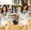 ชุดเดรสสั้น ตัวเสื้อผ้าลูกไม้เนื้อนิ่ม สีขาว ซับในด้วยผ้าชีฟองสีเทา เสื้อทรงหลวม thumbnail 6