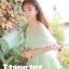 ชุดเดรสเจ้าหญิง ผ้าไหมแก้ว สีเขียว ปักลายดอกไม้สีเขียว thumbnail 5
