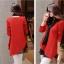 เสื้อผ้าไหมพรม แฟชั่นเกาหลี เนื้อบาง แขนยาว สีแดง thumbnail 5