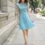 ชุดเดรสเกาหลี Brand Hong fen jia ren เดรสสุดหรูสีฟ้า ตัวเสื้อผ้าลายดอกไม้ ซับในผ้าไหม แขนเสื้อและกระโปรง ผ้าไหมแก้ว ใส่ออกงานสวยมากๆครับ (พร้อมส่ง) thumbnail 2