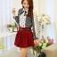 แฟชั่นเกาหลี เสื้อผ้าคอตตอน ทอลายตารางเล็กๆ สีดำขาว แขนยาว หน้าอกเสื้อแต่งด้วยผ้าถักวงกลมสีขาว thumbnail 2