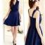 DRESS ชุดเดรสแฟชั่น ผ้าชีฟอง สีน้ำเงิน ใส่ทำงาน สม็อคช่วงอกด้านหลัง ใส่ออกงานได้ น่ารักมากๆ thaishoponline thumbnail 5