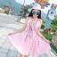 ชุดเดรสผ้าชีฟอง สีชมพูโอรส แขนกุด คอวี thumbnail 11