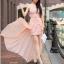 ชุดเดรสเกาะอก ใส่ออกงาน ผ้าคอตตอนผสม สีชมพู thumbnail 7