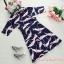 ชุดเดรสสั้น ผ้าซาติน พื้นสีน้ำเงิน ลายนกสีชมพู แขนยาวสามส่วน thumbnail 9