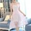 ชุดเดรสสวยๆ ผ้าไหมแก้ว organza เนื้อผ้าเงาวิ้ง ลายใบไม้สีชมพู สวยมากๆ thumbnail 2