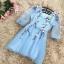 ชุดเดรสสวยๆ ผ้าไหมแก้ว organza เนื้อทรายสีฟ้า คอวี thumbnail 10