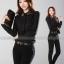 เสื้อทำงาน เสื้อทำงานเกาหลี ผ้าชีฟอง กระดุมหน้า ปักลายที่ปกเสื้อ ดูดี สีดำ สวยมากๆ (พร้อมส่ง) thumbnail 3