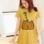 เสื้อยืดเกาหลี ตัวยาว / แซกสั้น ผ้านุ่ม งานคุณภาพ ลาย แมวเหมียว สีเหลือง thumbnail 1