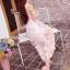 ชุดเดรสยาว ผ้าไหมแก้ว organza สีชมพู ปักด้วยด้ายสีขาวครีม เดินเส้นด้ายทั้งชุด thumbnail 3