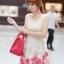 ชุดเดรสแฟชั่น Brand Ai Fei ชุดเดรสแขนกุด ตัวเสื้อผ้าลูกไม้สีครีม กระโปรงปักด้วยด้ายและดิ้นสีขาวและสีชมพูเข้ม พร้อมส่ง thumbnail 3