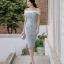 ชุดเดรสเกาหลี ผ้าโพลีเอสเตอร์ผสม สีฟ้า ไหล่และคอเสื้อเป็นผ้าชีฟองเนื้อหนาสีขาว ไหล่ป้าน thumbnail 6