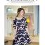 ชุดเดรสสั้น ผ้าซาติน พื้นสีน้ำเงิน ลายนกสีชมพู แขนยาวสามส่วน thumbnail 6