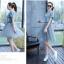 ชุดเดรสยีนส์ แฟชั่นเกาหลี แขนสั้น หน้าอกแต่งด้วยผ้าลายหน้าผู้หญิงเหมือนแบบ thumbnail 7