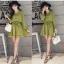 ชุดเดรสแฟชั่น ผ้าโพลีเอสเตอร์ สีเขียว (เนื้อผ้าคล้ายชีฟอง แต่หนากว่าชีฟอง) thumbnail 6