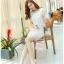 แฟชั่นเกาหลี set เสื้อ และกระโปรง ผ้าถักโครเชต์ลายดอกไม้ สีขาว thumbnail 5