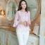 เสื้อผ้าถักลายดอกไม้ สีชมพู แฟชั่นเกาหลี แขนยาวสี่ส่วน thumbnail 2