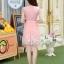 ชุดเดรสออกงานเกาหลี Brand เกาหลี เดรสตัวเสื้อผ้าถักลายดอกไม้ สีชมพูโอรส คอเสื้อประดับมุก กระโปรงผ้าโปร่งปักดิ้นลายดอกไม้ thumbnail 5