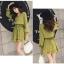 ชุดเดรสแฟชั่น ผ้าโพลีเอสเตอร์ สีเขียว (เนื้อผ้าคล้ายชีฟอง แต่หนากว่าชีฟอง) thumbnail 8
