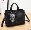 Pre-order กระเป๋าผู้หญิงถือและสะพายข้าง แฟชั่นสไตล์เกาหลี รหัส KO-866 สีดำ *แถมตุ๊กตาหมี thumbnail 1