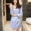 ชุดเดรสน่ารัก ผ้าไหมผสม เนื้อเงา สีฟ้า แขนยาวห้าส่วน thumbnail 2