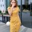 ชุดเดรสสวยๆ ผ้าถักรูปดอกไม้ สีเหลืองมัสตาร์ต เดรสทรงตรง เข้ารูปช่วงเอว thumbnail 2
