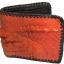 กระเป๋าสตางค์ 2 พับ หนังจระเข้เเท้ หนังต่อเย็บมือ สีส้ม thumbnail 1