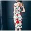 ชุดเดรสสั้น ผ้าคอตตอนผสม spandex เนื้อนุ่มมากพื้นสีขาว ลายดอกกุหลาบสีแดง thumbnail 7