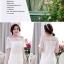 ชุดเดรสสั้น แฟชั่นเกาหลี เดรสผ้าปักสีขาว สวยหวาน ทรงตรง ซิบด้านหลังลำตัว มีซับใน thumbnail 5