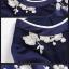 ชุดเดรสทำงาน ผ้าโพลีเอสเตอร์ผสมสีน้ำเงิน แขนยาวสี่ส่วน thumbnail 6