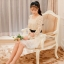ชุดเดรส Prinstory ชุดเดรสเจ้าหญิง ตัวเสื้อด้านหน้า ผ้าไหมแก้วลายดอกไม้สีครีม กระโปรงผ้าไหมแก้วสีครีม(พร้อมส่ง) thumbnail 3