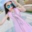 ชุดเดรสผ้าชีฟอง สีชมพูโอรส แขนกุด คอวี thumbnail 6
