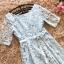 ชุดเดรสออกงาน ผ้าลูกไม้ปักสีฟ้า แขนยาวสามส่วน เดรสเข้ารูปช่วงเอว thumbnail 8