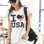 เสื้อยืดแฟชั่น แขนเบิ้ล ผ้าเนื้อนุ่ม ลาย Love USA สีขาว thumbnail 1