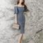 ชุดเดรสสั้น ผ้าโพลีเอสเตอร์ผสม สีน้ำเงินอมเทา ไหล่ป้าน แขนเสื้อทรงระบาย เดรสทรงตรง thumbnail 10