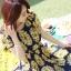 DRESS ชุดเดรสแฟชั่นแขนสั้น ผ้าชีฟอง ใส่ทำงาน สีน้ำเงินลายดอกไม้สีเหลือง อัดพลีททั้งชุด จั๊มเอว พร้อมเชือกผูกเอว สามารถใส่ออกงานได้ น่ารัก thaishoponline (พร้อมส่ง) thumbnail 5