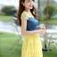 ชุดเดรสสวยๆ เดรสตัวเสื้อผ้ายีนส์ อกและไหล่ผ้าลูกไม้แบบนิ่มสีเหลือง ยืดหยุ่นได้ดี กระโปรงผ้าไหมแก้วสีเหลือง thumbnail 4