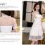 ชุดเดรสไปงาน ผ้ามุ้ง แฟชั่นเกาหลี ปักลายดอกไม้ สีขาว thumbnail 7