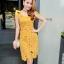 ชุดเดรสสวยๆ ผ้าถักรูปดอกไม้ สีเหลืองมัสตาร์ต เดรสทรงตรง เข้ารูปช่วงเอว thumbnail 1