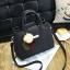 Pre-order กระเป๋าผู้หญิงถือและสะพายข้าง เรียบหรู 3 ช่องเก็บของรหัส KO-854 สีดำ *แถมปอม3สี thumbnail 2