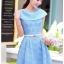 ชุดเดรส ชุดเดรสเจ้าหญิง แสนหวาน ตัวชุดผ้าลูกไม้สีฟ้า คอเสื้อเสื้อหยัก แต่งผ้าถ่วงคลุมไหล่และแขน สวยมากๆ thumbnail 5