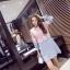 เสื้อตัวยาว หรือ มินิเดรสทรงเอ ตัวเสื้อผ้าลูกไม้สีชมพู เย็บต่อกับผ้ายีนส์ สีฟ้าอ่อน thumbnail 4
