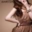 DRESS ชุดราตรี เดรสใส่ออกงาน แขนกุด คอวี คล้องคอ ผ้าซาติน + ตาข่าย สีน้ำตาล - ม่วง เซ็กซี่มากๆ thaishoponline thumbnail 2