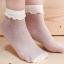 ถุงเท้าลูกไม้ เนื้อซีทรู ลายจุดแสนหวาน สีขาว thumbnail 3