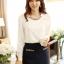 เสื้อทำงาน เสื้อแฟชั่น เสื้อเกาหลี เสื้อแขนยาว ผ้าชีฟอง ประดับพลอยที่คอ เสื้อสีขาว สวยมากๆ (พร้อมส่ง) thumbnail 1